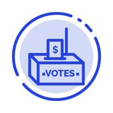 Bribe, Corruption, Election, Influence, Money Blue Dotted Line Line Icon stock illustration