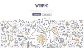Wedding Doodle Concept stock illustration