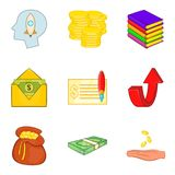 Bribe icons set, cartoon style. Bribe icons set. Cartoon set of 9 bribe vector icons for web isolated on white background Royalty Free Stock Image