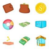 Bribe icons set, cartoon style. Bribe icons set. Cartoon set of 9 bribe vector icons for web  on white background Stock Photos