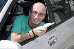 Bribe on road stock photo