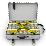 Bribe. Suitcase full of money. A suitcase filled with bundles of US dollars and yellow tapes with text `BRIBE`. Isolated. 3D Illustration Royalty Free Stock Photos