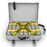 Bribe. Suitcase full of money. A suitcase filled with bundles of US dollars and yellow tapes with text `BRIBE` Russian language. . 3D Illustration Royalty Free Stock Photo