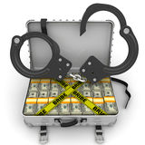 Bribe. Suitcase full of money with handcuffs Royalty Free Stock Photography