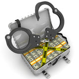Bribe. Suitcase full of money with handcuffs Royalty Free Stock Photos