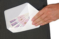Bribery. Envelope with money in hip pocket Royalty Free Stock Images