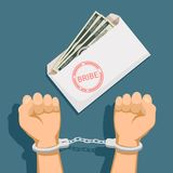 Bribery and corruption. Envelope with dollar banknotes. Man in handcuffs. Stock  illustration Royalty Free Stock Photo