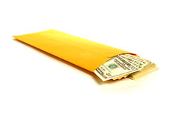 Bribery Hush Money with Dollar Bills in Envelope Royalty Free Stock Images