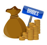 Bribes Gold coins and money bag Royalty Free Stock Images