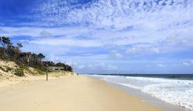 Bribie Island - Woorim Beach. Ocean beach during run out tide on a sunny day in Woorim, Bribie Island, Australia Royalty Free Stock Photography