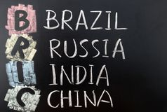 BRIC acronym. For Brazil, Russia, India and China stock photography