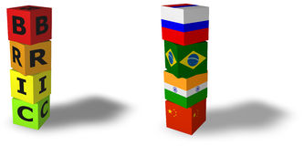 Bric acronym for Brazil, Russia, India, China. 3d design rendered formed by the BRIC countries Brazil, Russia, India and China Stock Images