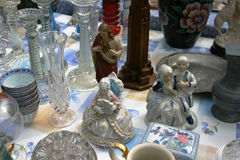 Bric-a-brac. Miscellaneous items at a jumble sale Royalty Free Stock Photo