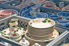 Bric-a-brac market with ceramic Royalty Free Stock Photo