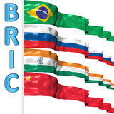 BRIC countries. Flags 3d illustration Stock Photography