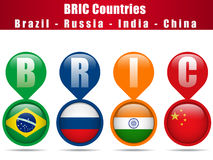 BRIC Countries Buttons Stock Images