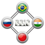 BRIC Countries Buttons Brazil Russia India China Royalty Free Stock Photos