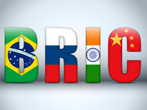 BRIC Countries Letters. Vector - BRIC Countries Buttons Brazil Russia India China Royalty Free Stock Photo
