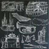 Bric ein brac, Gegenstände - ein Hand gezeichneter Satz Freihändig skizzierend V Lizenzfreies Stockfoto