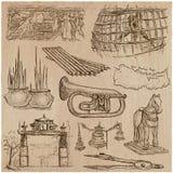 Bric ein brac, Gegenstände - ein Hand gezeichneter Satz Freihändig skizzierend V Stockbild