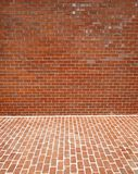 Brick. Red brick wall and sidewalk; good for background Royalty Free Stock Photo