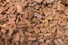 Brick. Pile of used brick on floor Stock Photo
