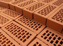 Brick. Pile of arranged new bricks on the site Stock Photography