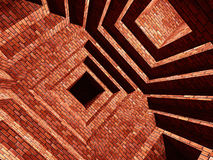 Brick abstarct building. 3d image of modern abstract brick building background Stock Photos