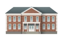 Brick administrative building. Front view of brick administrative governmental building with grey roof. Traditional classic architecture of building with royalty free illustration