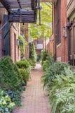 Brick Alley Way Garden Stock Photo