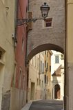 Brick arch in alley. In the city of Verona, Italy Royalty Free Stock Image
