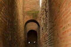 Brick arch in Ancient Pompeii. Long corridor with arch in Ancient Pompeii Royalty Free Stock Photos