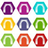 Brick arch icons set 9 vector. Brick arch icons 9 set coloful isolated on white for web stock illustration