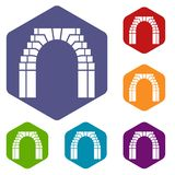 Brick arch icons vector hexahedron. Brick arch icons vector colorful hexahedron set collection isolated on white vector illustration