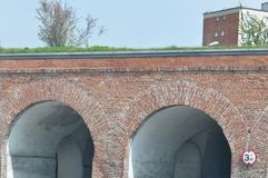 Brick Arch Tunnel. Detail of Brick Arch Tunnel Stock Photography