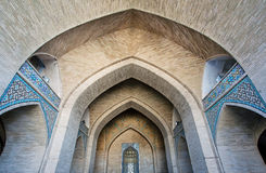 Brick arched entrance of the historic mosque in Middle East Stock Photos