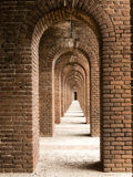Brick Arches at Fort Jefferson. Brick arches form a long hallway in historic Fort Jefferson (built on Garden Key in 1846) on the Dry Tortugas island located in royalty free stock photo