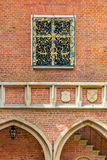 Brick architecture of Krakow (Cracow)- Poland-Jagiellonian University. Arcaded counrtyard Collegium Maius-Jagiellonian University, arches, decorative bars on Royalty Free Stock Image