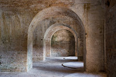 Brick Archway. Old brick arches inside an old fort in Florida completed in 1834 royalty free stock photo