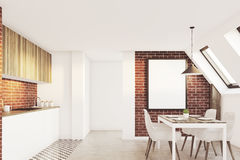 Brick attic kitchen, front Royalty Free Stock Images