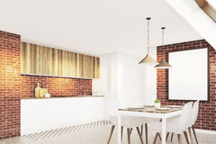 Brick attic kitchen, side Stock Images