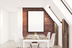 Brick attic kitchen Royalty Free Stock Photos