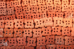 Brick background. Bricks stacked in preparation to build the wall Stock Image