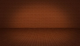 Realistic 3D presentation floor surface with brick background  Stock Photo