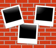 Brick background with a photo frame Stock Image