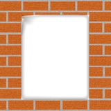 Brick background with a sheet of paper Royalty Free Stock Images