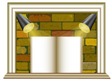 Brick background with spotlights and blank paper. Framed brick background with two lights and banner in the shape of book Royalty Free Stock Photos
