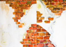 Brick background 'watercolor painted Royalty Free Stock Photos