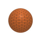 Brick ball. 3D rendering of a sphere with a brick wall texture Royalty Free Stock Image
