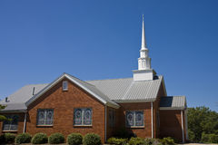 Brick Baptist Church. An old small  brick baptist church and blue sky Royalty Free Stock Images